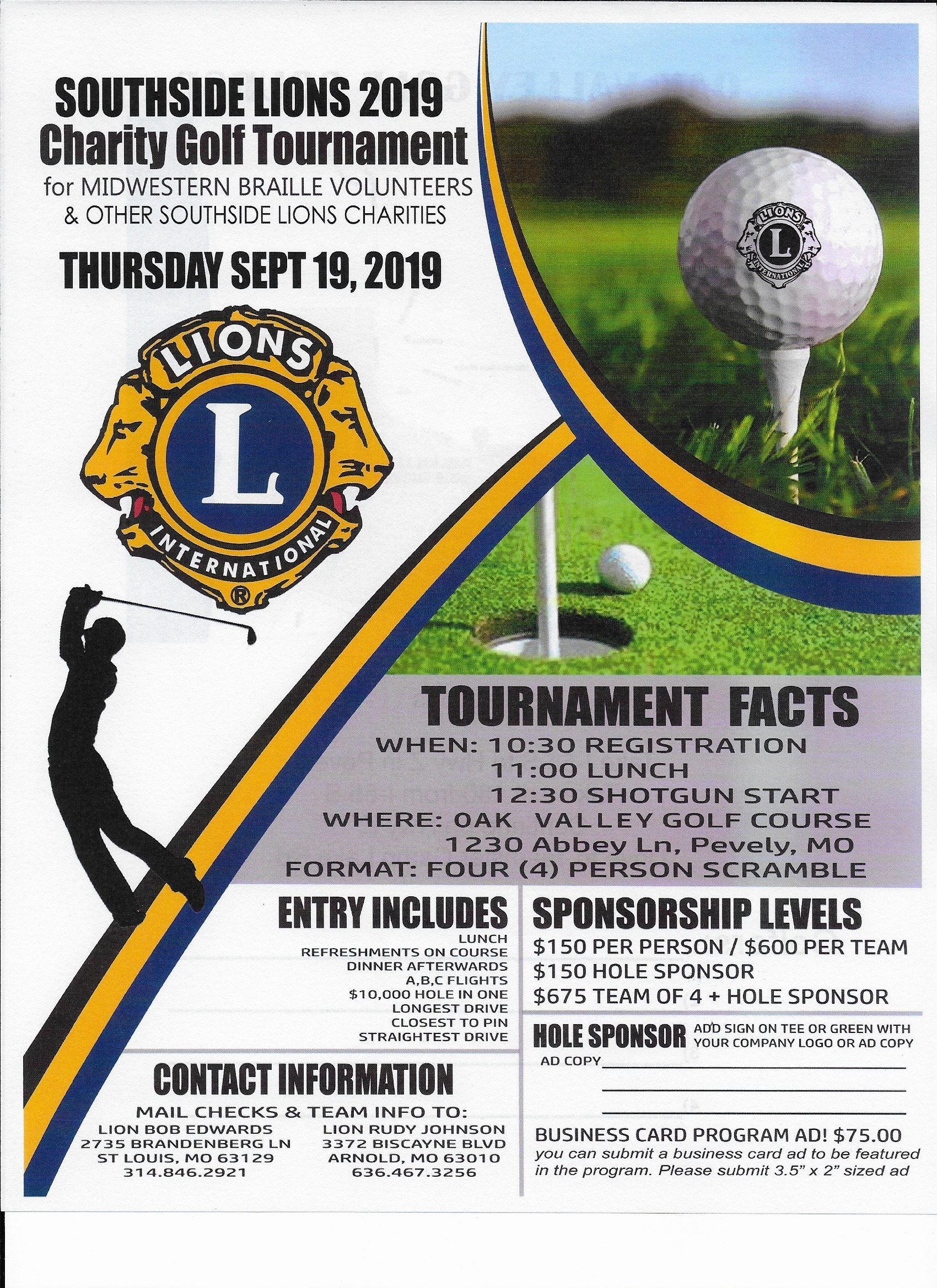 Southside Lions 2019 Charity Golf Tournament Oak Valley Golf Course And Resort